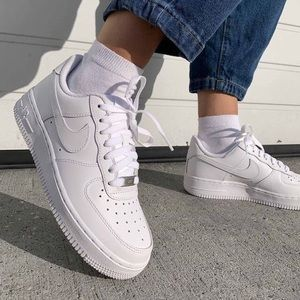 Nike Air Force one all white low top shoes women's